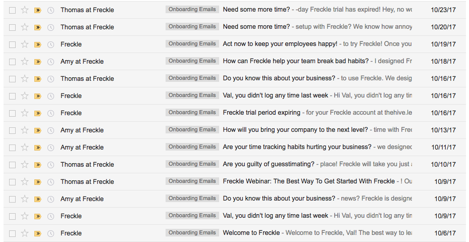 Email Onboarding Tear Down: Freckle