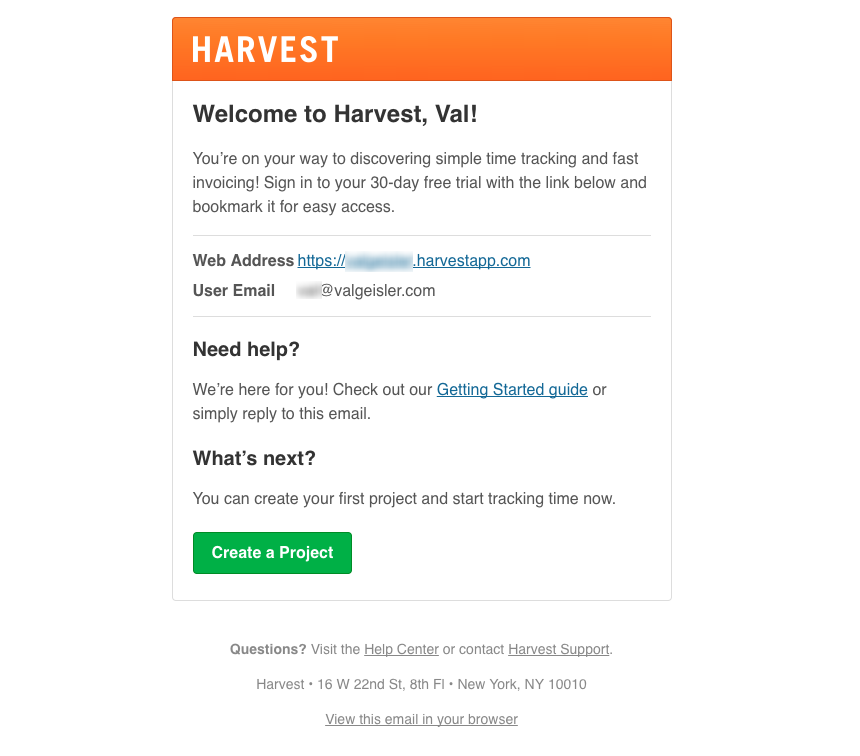 Email Onboarding Tear Down: Harvest