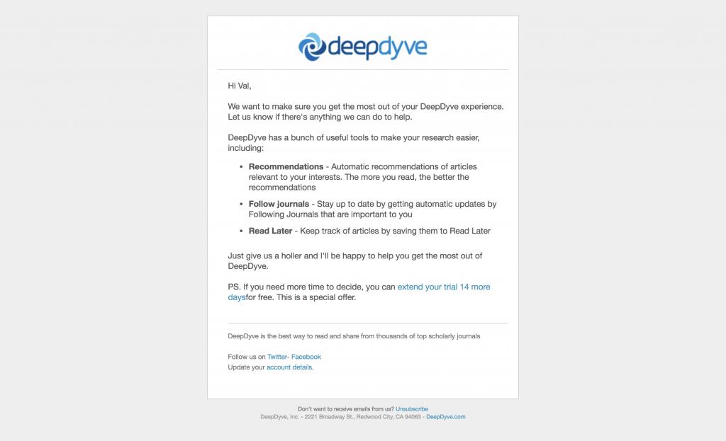 Email Onboarding Tear Down: DeepDyve