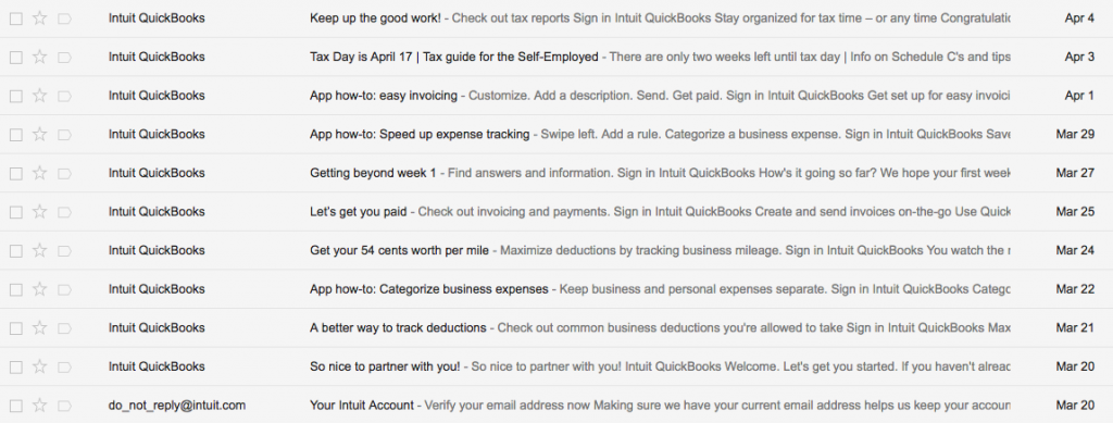 Email Onboarding Tear Down: Quickbooks Online